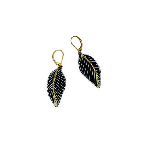 bijoux créateur Lyon boucles d'oreilles feuilles plumes