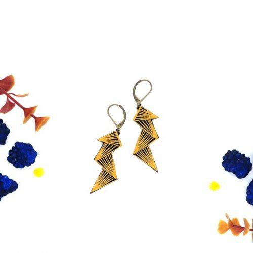 bijoux créateur Lyon boucles d'oreilles éclairs motif léopard
