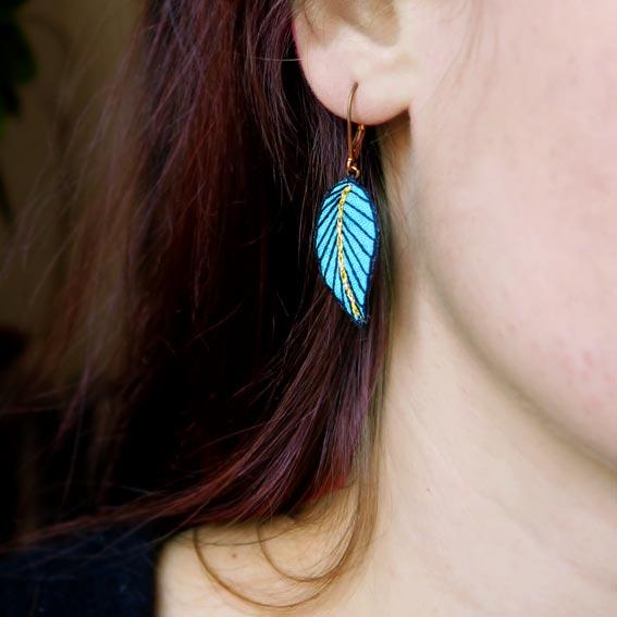bijoux créateur Lyon boucles d'oreilles plumes feuilles style bohème