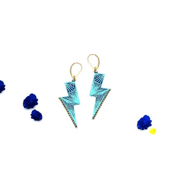bijoux créateur Lyon boucles d'oreilles éclairs