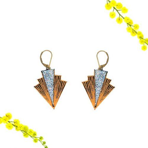 bijoux créateur Lyon boucles d'oreilles éclairs art déco cuir or