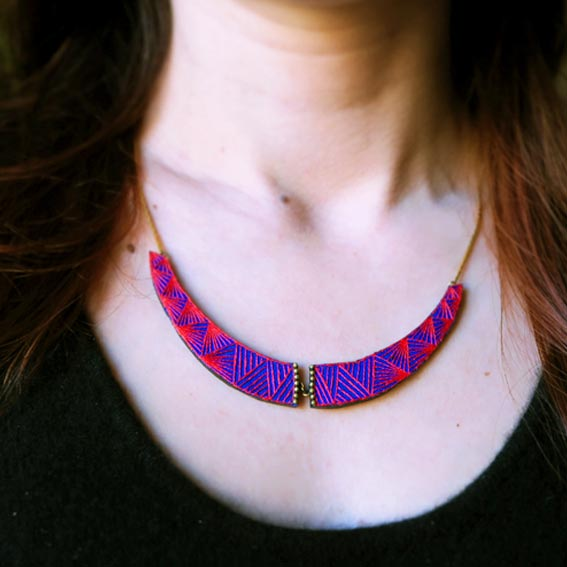 bijoux créateur lyon collier plastron rouge