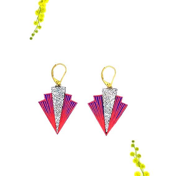 bijoux créateur Lyon boucles d'oreilles rouges cuir or graphiques