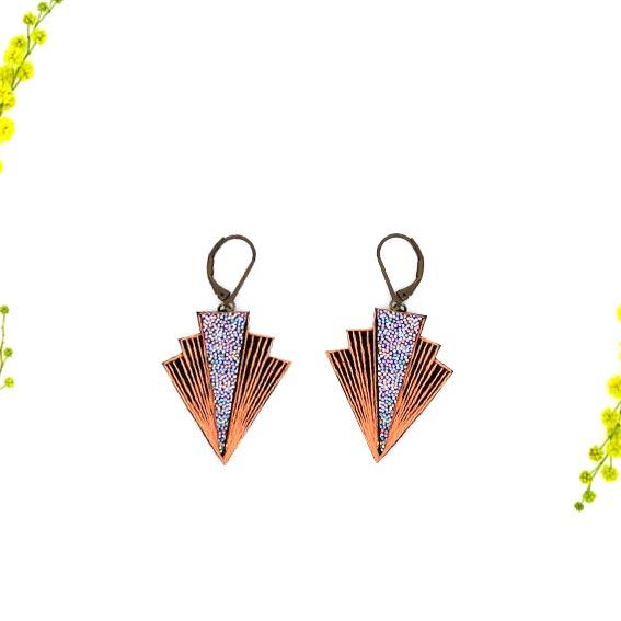 bijoux créateur Lyon boucles d'oreilles art déco cuir or