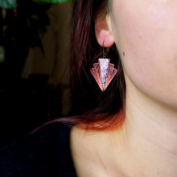 bijoux créateur Lyon boucles d'oreilles éclairs foudre cuir or
