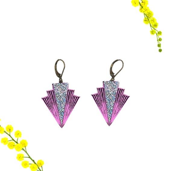 bijoux créateur Lyon boucles d'oreilles art déco paillettes rose cuir or graphiques