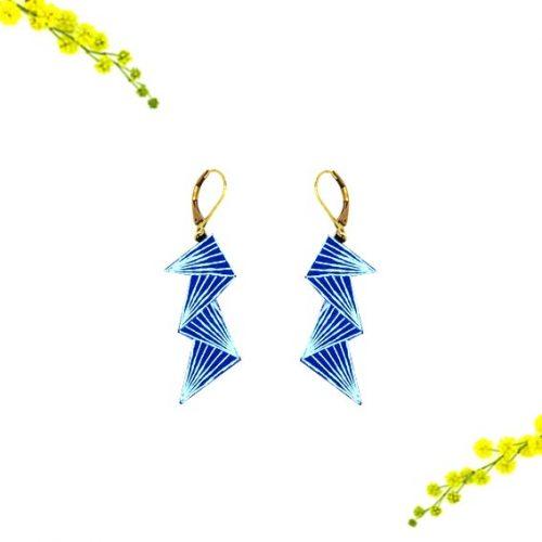 bijoux créateur Lyon boucles d'oreilles éclair bleu cuir or graphiques