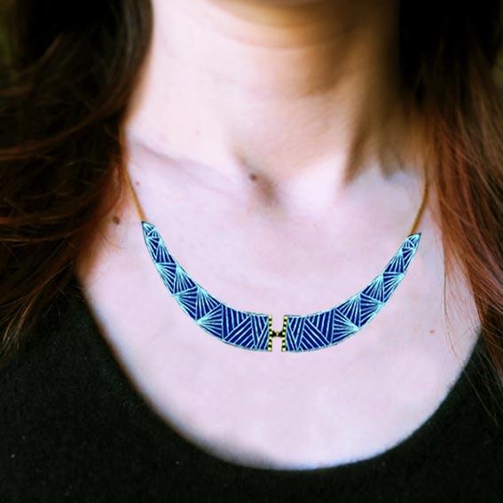bijou créateur plastron collier bleu or Lyon