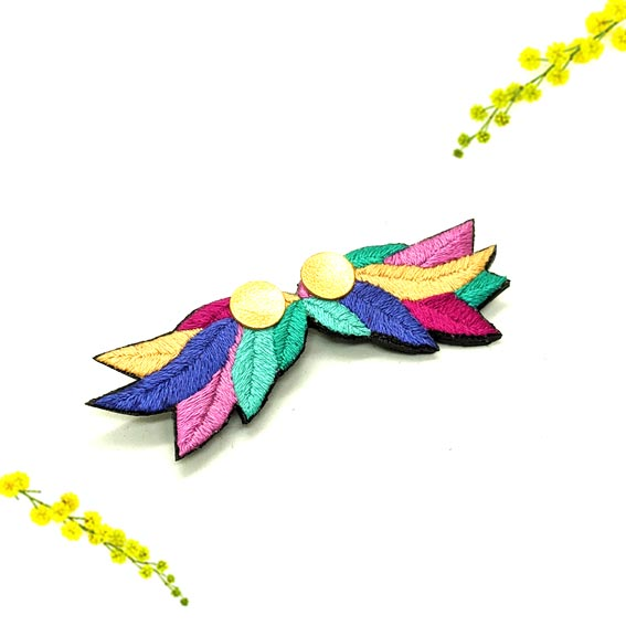 broche brodée feuilles fleur végétal bohème lyon créateur